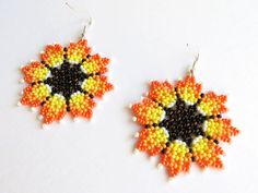 Yellow Earrings, Seed Bead Earrings, Flower Earrings, Beaded Earrings, Seed Beads, Crochet Earrings, Bead Jewellery, Beaded Jewelry, Mexican Designs