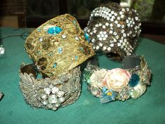 Vintage Antique 19th C Metallic Lace Steel Cut Applique Rhinestone Paste Pendant Cuff Bracelet~these are so awesome!