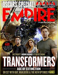 Mark Wahlberg shares the cover of Empire magazine's January 2014 issue with his Transformers: Age Of Extinction co-stars Nicola Peltz and Jack Reynor. #Hollywood #Movies #Transformers