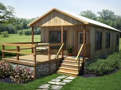 The Blue Water: a modular home with an open living room and a full kitchen with large windows to naturally illuminate the home. Built by Portable Buildings of Brenham. Shed Homes, Kit Homes, Log Cabin Plans, Modular Homes, Built In Storage, Metal Homes, Large Windows, Building A House, Building Ideas