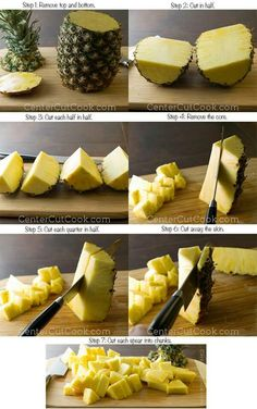 Step by step guide on how to cut a pineapple! Seriously the best way to cut a pineapple so you get perfect sized pieces! Fruit Recipes, Cooking Recipes, Cooking Tips, Cooking Bacon, Yummy Recipes, Cooking Games, Sausage Recipes, Cooking Classes, Dessert Recipes