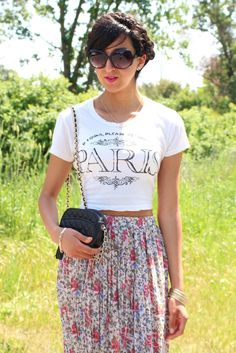 Paris cropped top: graphic tee and floral maxi skirt
