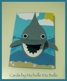 """Handmade Card: Shark made with Oval shapes """"Have a Finstatic Birthday!"""""""