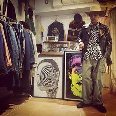 50s LongBrim Felt Hat  Vintage BlackWhite Cotton Shirt  STAMPS Leather Riders Jacket  40s U.S.ARMY Cargo Pants  old VANS chakka  よろしくどうぞ  #アルベールカーン #vintage #harajuku #styling #coordinate #50s #westernHat #cowboy #shirt #stamps #leather #riders #40s #usarmy #military #cargo #pants #vans #chakka by albertkahn_clothing