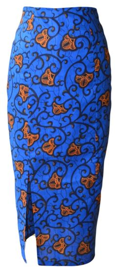 African pencil skirt with side front slit. Fitted by Rahyma
