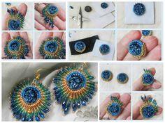 Peacock feathers earrings