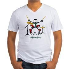 300dpi_color_drummer Mens V-Neck T-Shirt