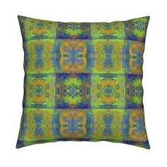 Catalan Throw Pillow featuring PAINTED ABSTRACT INCA BLUE GREEN MUSTARD SYMBOL SQUARES GEOMETRIC by paysmage   Roostery Home Decor