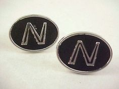 "Vtg 1950s Hickok USA Oval Initial ""N"" Blk Enamel Silver Tone Toggle Cuff Links  #Hickok"