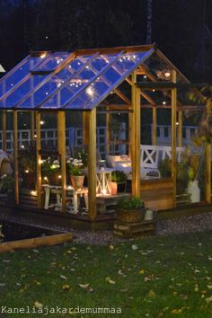 Greenhouse gazebo in October/ kasvihuone Outdoor Retreat, Outdoor Rooms, Outdoor Living, Outdoor Plants, Outdoor Gardens, Earthy Home, Garden Cottage, Home And Garden, Small Courtyard Gardens