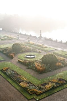a beautiful misty garden terrace, Trentham estate| Tom Stuart-Smith photography