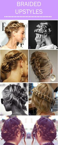 Braided Upstyles: A DDG Moodboard full of topsy turvy tress twists - I have to admit, I'm loving the recent influx of updo inspiration post fashion week and awards season (especially useful for busy mornings or those Up Hairstyles, Pretty Hairstyles, Braided Hairstyles, Wedding Hairstyles, Braided Upstyles, Hair Upstyles, Braided Updo, Love Hair, Great Hair