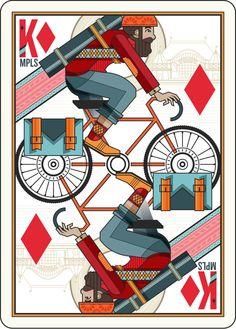 """The King of Bikes"" - Minneapolis Bike Tour - 2013, Ellen Schofield, Illustrator"