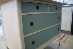 Chalk Paint dresser - Old White and Duck Egg Blue.