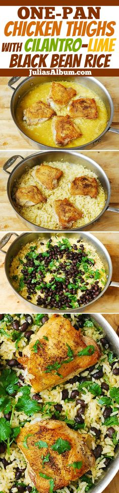 One-Pan Chicken Thighs with Cilantro-Lime Black Bean Rice One-Pot Chicken Thighs with Cilantro-Lime Black Bean Rice - delicious, healthy, gluten free dinner! Made on stove-top, in one pot, no need to turn on the oven! I Love Food, Good Food, One Pot Dinners, One Pot Chicken, Oven Chicken, Baked Chicken, Pesto Chicken, Comida Latina, Cooking Recipes