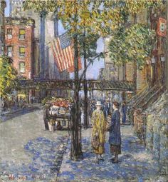 Flags on the Friar's Club, 1918, Childe Hassam via wikiart/public domain.