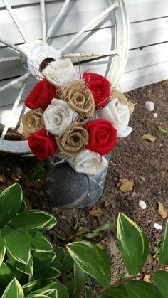 Check out this item in my Etsy shop https://www.etsy.com/listing/235423201/handmade-burlap-wedding-bouquet-diy