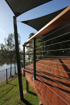 wire balustrade and shade sail fittings Deck Balustrade Ideas, Wire Balustrade, Deck Railing Design, Balcony Railing, Deck Railings, Balcony Deck, Cable Railing, Railing Ideas, Outdoor Stairs