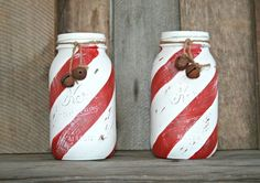 Candy Cane Mason Jars ~ Christmas Decor ~ Painted & Distressed for a rustic, shabby chic, farmhouse Christmas by reva
