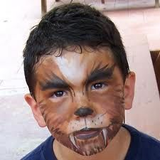 Simple face painting designs are not hard. Many people think that in order to have a great face painting creation, they have to use complex designs, rather then Halloween Makeup For Kids, Halloween 2014, Halloween Costumes For Kids, Holidays Halloween, Halloween Party, Werewolf Face Paint, Werewolf Makeup, Boys Werewolf Costume, Makeup Crafts