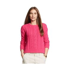 Ralph Lauren Lauren Woman Cable-Knit Cotton Sweater ($40) ❤ liked on Polyvore featuring plus size fashion, plus size clothing, plus size tops, plus size sweaters, pink crew neck sweater, cotton cable knit sweater, long sleeve sweaters, long sleeve tops and cableknit sweater