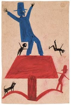 Bill Traylor (c. 1854–1949) Montgomery, Alabama c. 1939–1942 Poster paint and pencil on cardboard 11 3/4 x 7 3/4 in. High Museum of Art, Atlanta, Georgia, purchase with funds from Mrs. Lindsey Hopkins Jr., Edith G. and Philip A. Rhodes, and the Members Guild, 1982.93