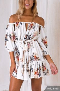 White Random Floral Print Off The Shoulder 3/4 Length Sleeves Mini Dress