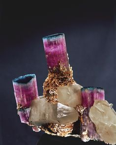 """Blue Cap Tourmaline The """"Candelabra"""" Tourmaline This stunning specimen was mined by Pala at the Tourmaline Queen mine in 1972. Today it is on public display at the Smithsonian Institution in Washington, DC. Among the many discoveries at the Tourmaline Queen, one stands out—the """"Blue Cap Pocket,"""" which was later referred to as the find of the century by Dr. Vincent Manson, then-curator of the American Museum of Natural History. (Photo: Harold Erica Van Pelt)"""