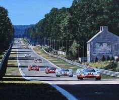The iconic Porsche of Jo Siffert / Brian Redman streaks down the Mulsanne straight pursued by the sister car of Pedro Rodriguez / Leo Kinnunen and 2 of the rival Ferrari of Vaccarella / Giunti and Merzario / Reggazoni at Le Mans in Sports Car Racing, Road Racing, Sport Cars, Race Cars, Auto Racing, Motor Sport, Maserati, Ferrari, Circuit Du Mans