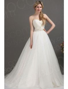 Glorious A Line Sweetheart Chapel Train Tulle Wedding Dress CWLT1305E 49999