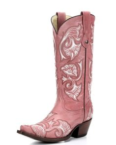 Corral Boots have pretty floral embroidery in hues of white and pink blended perfectly on the gorgeous pink leather.