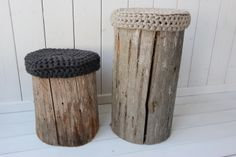 Virkatut pehmusteet  ja kelopölkky Home Signs, Outdoor Life, Stool, Cottage, Exterior, Rustic, Garden, Furniture, Decoration