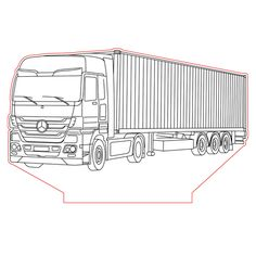 Mercedes truck 3d illusion lamp vector file for CNC - 3bee-studio