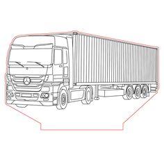 Scania BR-JN truck 3d illusion lamp plan vector file ...