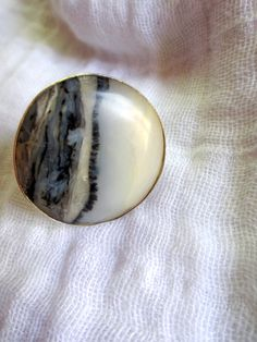 Round Peruvian black and white Opal stone set in by Perunz on Etsy, $50.00
