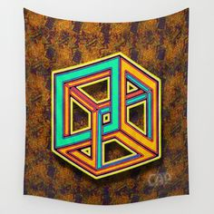 DIFORCE #3 Impossible Triangle Psychedelic Optical Illusion Wall Tapestry