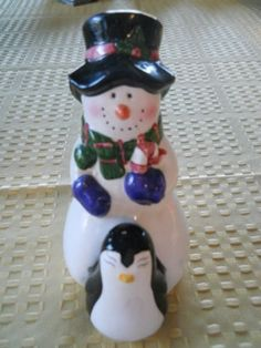 Snowman and Penguin Salt and Pepper Shakers  by DEWshophere, $11.99