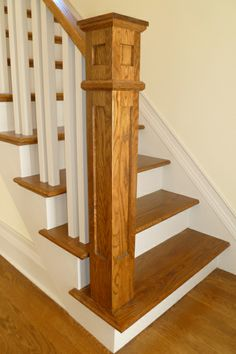 mission-style iron Balusters | BOX NEWEL POST 5X5 RECESSED PANEL WHITE OAK
