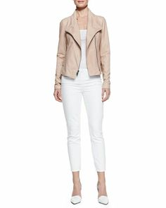 Leather Scuba Shawl-Collar Jacket & Dylan Slim Ankle Jeans by Vince at Neiman Marcus.