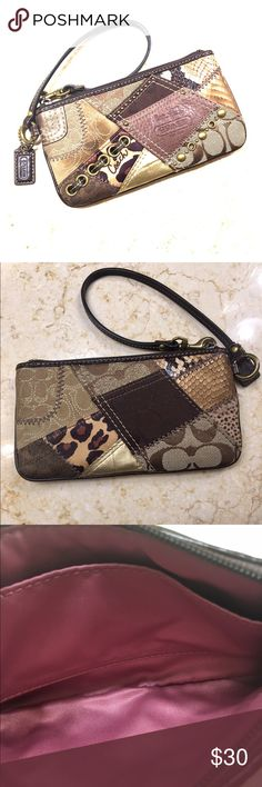 COACH WRISTLET Authentic Coach Wristlet Great Condition!!!Small spot shown in first picture that almost blends in if not pointed out. Coach Bags Clutches & Wristlets