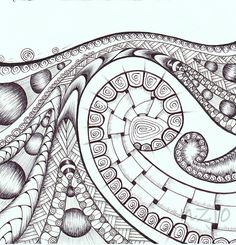 zentangle drawing with ink pen Tangle Doodle, Tangle Art, Zen Doodle, Doodle Art, Zentangle Drawings, Doodles Zentangles, Doodle Drawings, Doodle Patterns, Zentangle Patterns