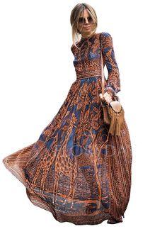 Sukienki - $68.99 - Szyfon Kwiatowy Długi Rękaw Maxi Nieformalny Sukienki (1955119958)