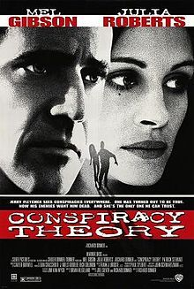"""Conspiracy Theory"" Directed by Richard Donner. Starring Julia Roberts, Mel Gibson, and Patrick Stewart Patrick Stewart, Mel Gibson, Steve Lee, Conspiracy Theory Film, Love Movie, I Movie, Movie List, Movie Stars, Peter Jacobson"