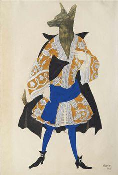 Léon Bakst (1866-1924) Costume design for 'La Belle au Bois Dormant': Le Loup http://www.christies.com/lotfinder/drawings-watercolors/leon-bakst-costume-design-for-la-belle-5999785-details.aspx?from=salesummary&&pos=8&intObjectID=5999785&sid=&page=4&lid=1