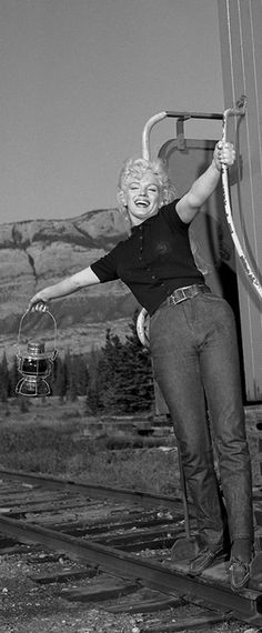 Marilyn in Jasper National Park during the filming of River of No Return, 1953.