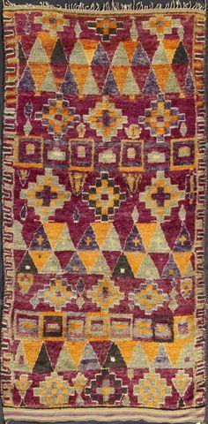 Moroccan Talsint Wool Pile Rug circa 1960