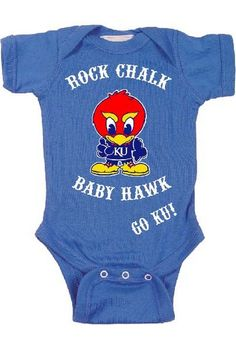Kansas (KU) Jayhawks Infant / Baby Blue Onesie http://www.rallyhouse.com/kansas-jayhawks-baby-royal-baby-hawk-short-sleeve-creeper-10190012?utm_source=pinterest&utm_medium=social&utm_campaign=Pinterest-KUJayhawks