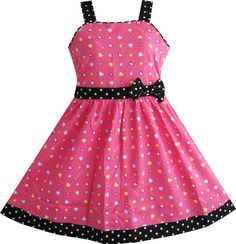 Girls Dress Heart Print Pink Size 4-12 Years Christmas