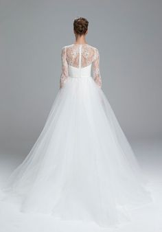 Lace wedding dress from Amsale. Chantilly lace bodice with long sleeves and soft tulle ball gown. Available in Ivory. Spring 2017 Wedding Dresses, Wedding Dress Types, Dream Wedding Dresses, Bridal Dresses, Wedding Gowns, Lace Wedding, Tulle Ball Gown, Ball Gowns, Amsale Bridal