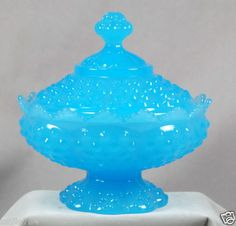 Fenton Glass PEKIN BLUE Hobnail Candy Box $110